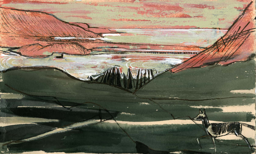 "<span class=""artist""><strong>Julia Midgley ARWS RE</strong></span>, <span class=""title""><em>Caerdeon with Shape</em></span>"