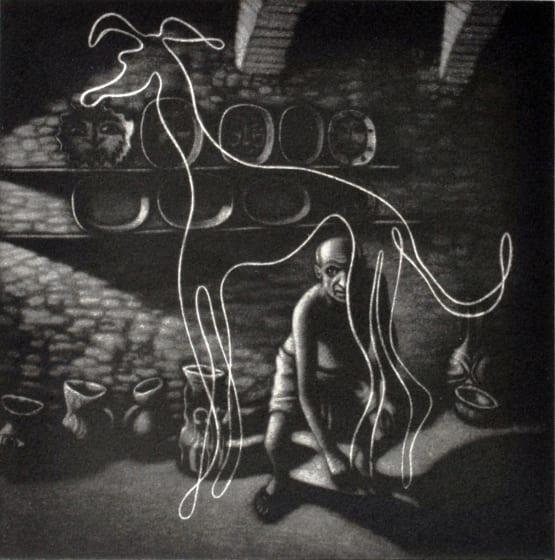 Mychael Barratt PRE Picassos dog mezzotint 47 x 45cm /100