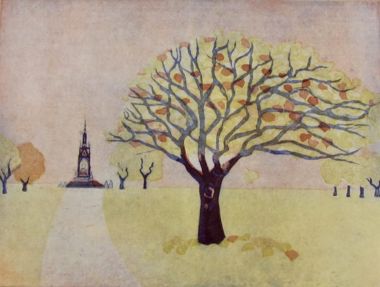 Karen Keogh RE The Bean Tree three plate etching 50 x 40cm 4/10. edition size 75