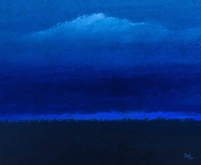 """<div class=""""artist""""><strong>Martin Leman RWS</strong></div><div class=""""title""""><em>Blue River</em></div><div class=""""medium"""">acrylic</div><div class=""""dimensions"""">34 x 34</div>"""