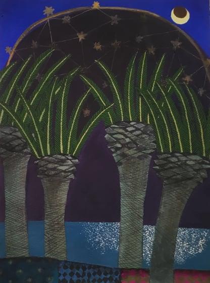 "<div class=""artist""><strong>Gertie Young ARWS</strong></div><div class=""title""><em>Honeymoon Evening</em></div><div class=""medium"">watercolour, gouache, collage & pencil</div><div class=""dimensions"">48 x 38 </div>"