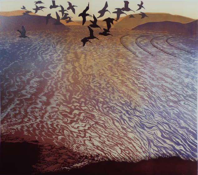 Julia Manning RE Returning Tide woodcut 80 x 90cm not sure at framers /25