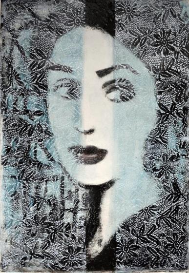 Corinna Button RE Between You and Me VIII carborundum collograph 99 x 74cm 1 /15