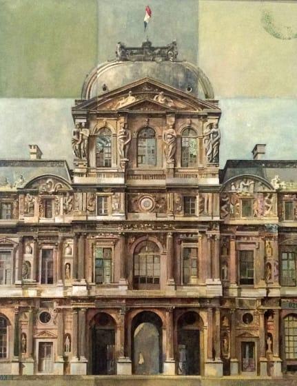 """<div class=""""artist""""><strong>Stuart  Robertson RWS</strong></div><div class=""""title""""><em>Pavillon Sully du Louvre</em></div><div class=""""medium"""">watercolour, gouache & collage</div><div class=""""dimensions"""">70 x 60</div>"""