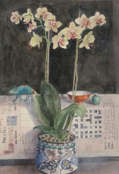 """<div class=""""artist""""><strong>Annie Williams RWS RE</strong></div><div class=""""title""""><em>Orchid</em></div><div class=""""medium"""">watercolour</div><div class=""""dimensions"""">72 x 50</div>"""