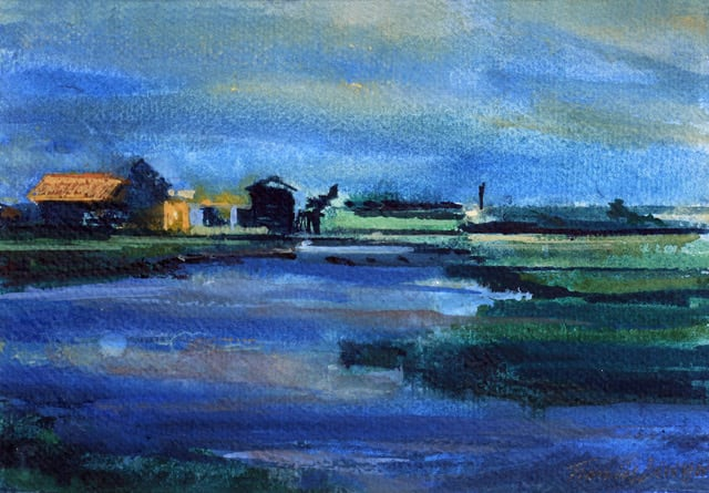 """<span class=""""artist""""><strong>Francis Bowyer Bowyer PPRWS Hon. RE</strong></span>, <span class=""""title""""><em>Towards East Point</em></span>"""
