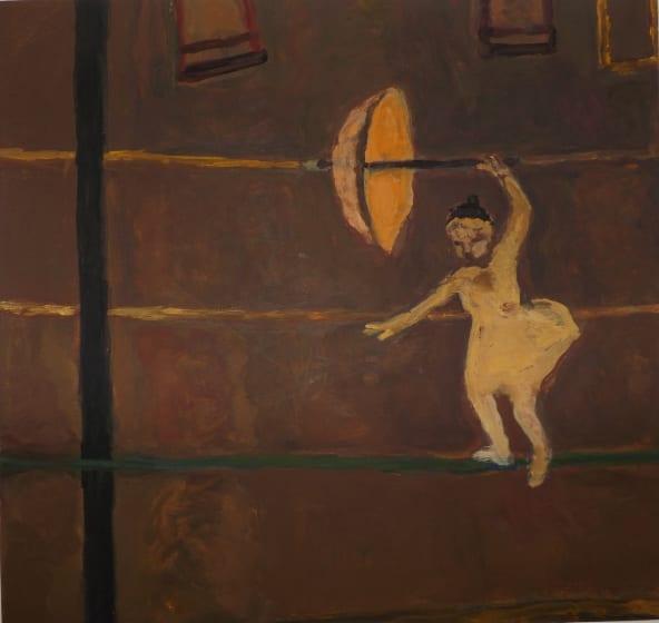 "<div class=""artist""><strong>Bridget Moore RWS</strong></div><div class=""title""><em>Girl on the Wire</em></div><div class=""medium"">gouache</div><div class=""dimensions"">43 x 42</div>"