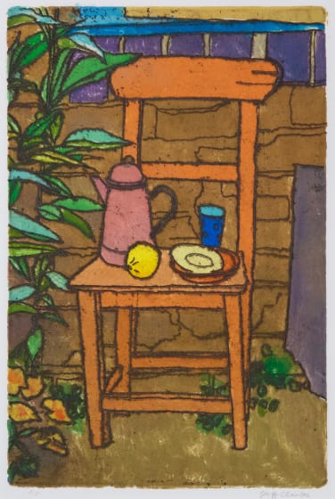 Jeff Clarke RE Garden Chair printed oil colour & etching AP