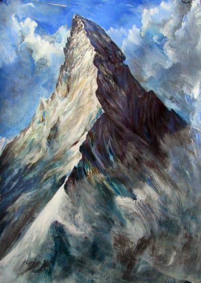 """<span class=""""artist""""><strong>Neil Pittaway RWS RE</strong></span>, <span class=""""title""""><em>Passing by the Matterhorn, Switzerland</em></span>"""