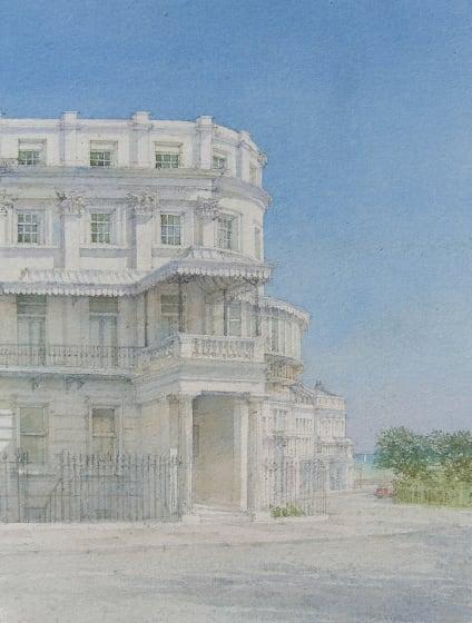 """<div class=""""artist""""><strong>Dennis Roxby Bott RWS</strong></div><div class=""""title""""><em>Lewes Crescent Brighton</em></div><div class=""""medium"""">watercolour</div><div class=""""dimensions"""">65 x 49</div>"""