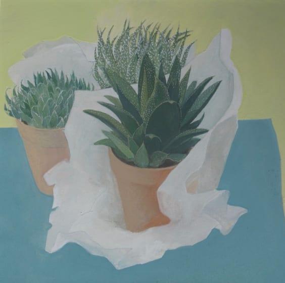 "<div class=""artist""><strong>Wendy Jacob RWS</strong></div><div class=""title""><em>Unwrapping Plants</em></div><div class=""medium"">gouache</div><div class=""dimensions"">53 x 53</div>"