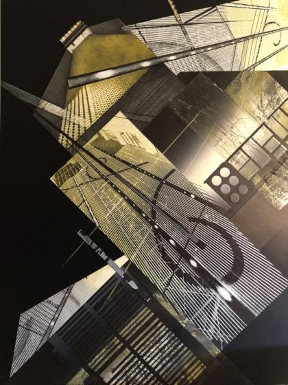 Sumi Perera RE Lines Exploring Space Inside the Building Blocks XVIII etching, aquatint, embossing, monoprint & stitch 80 x 60cm UNIQUE