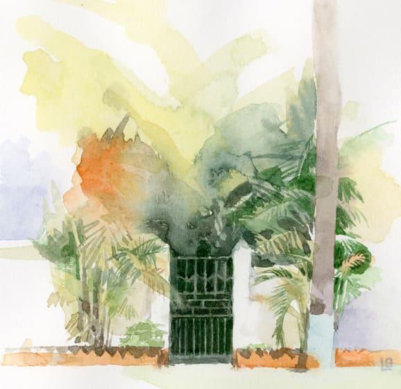 """<div class=""""artist""""><strong>Liz  Butler RWS</strong></div><div class=""""title""""><em>Gate to the Arabian Sea</em></div><div class=""""medium"""">watercolour</div><div class=""""dimensions"""">25 x 25</div>"""