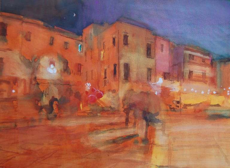 "<span class=""artist""><strong>Simon Pierse RWS</strong></span>, <span class=""title""><em>One Evening In Trani</em></span>"