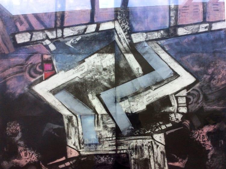 Margaret Sellars RE Diversion etching & monoprint 88 x 107cm Unique