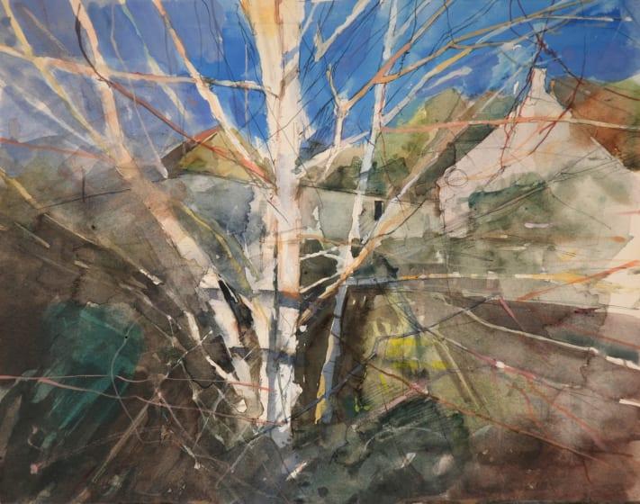 """<div class=""""artist""""><strong>Richard Pikesley RWS</strong></div><div class=""""title""""><em>Birch Trees, Middlehill</em></div><div class=""""medium"""">watercolour</div><div class=""""dimensions"""">42 x 45</div>"""