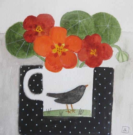 """<div class=""""artist""""><strong>Jill Leman PRWS</strong></div><div class=""""title""""><em>Nasturtiums & Blackbird</em></div><div class=""""medium"""">watercolour & acrylic</div><div class=""""dimensions"""">32.5 x 32.5</div>"""