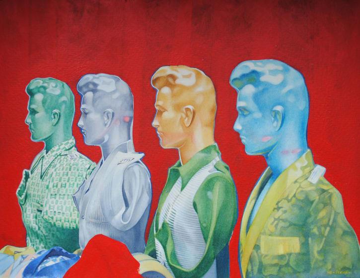 "<div class=""artist""><strong>Denis Ryan RWS</strong></div><div class=""title""><em>Cairo Mannequins</em></div><div class=""medium"">watercolour & water-based oil paint</div><div class=""dimensions"">42 x 48</div>"