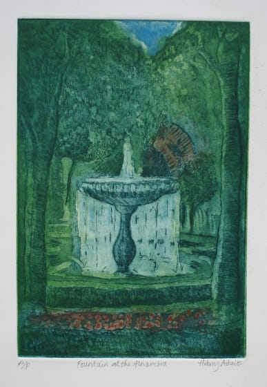 Hilary Adair RE Fountain at the Alhambra etching & aquatint 43 x 33cm A/P from edition of 20