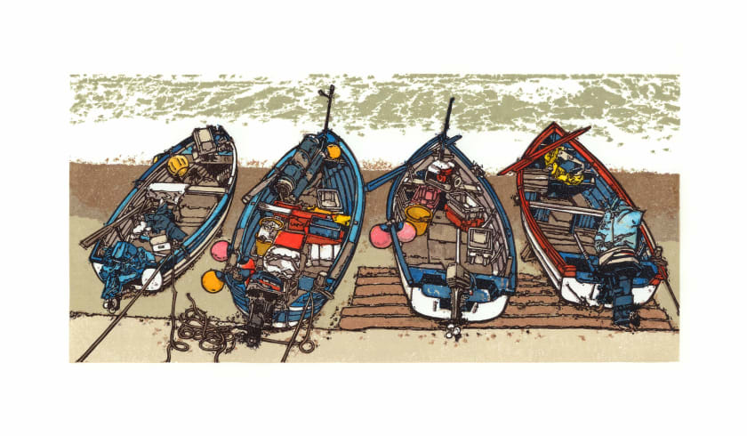 H Jackson RE On the Foreshore linocut 49 x 74cm 5/80