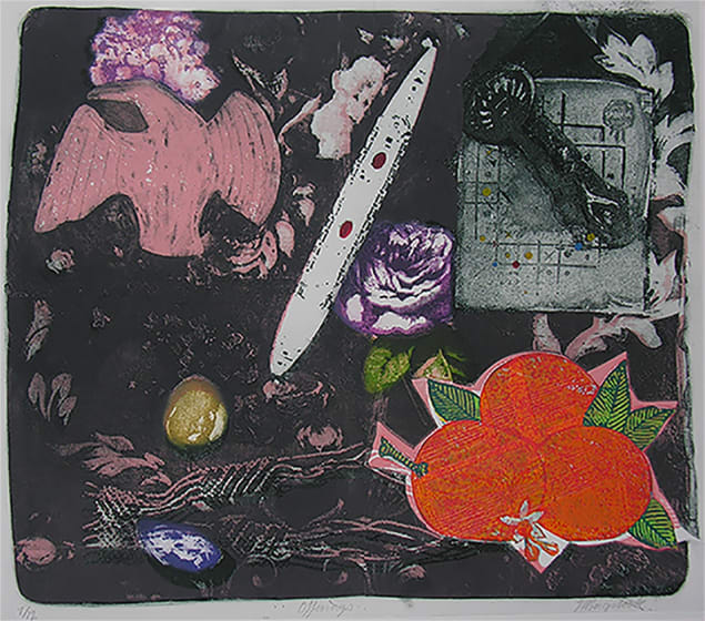Jane Brigstock ARE Offerings etching & screenprint & collage 75 x 61cm APx2