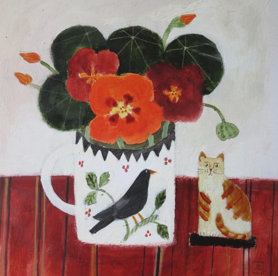 "<span class=""artist""><strong>Jill Leman PRWS</strong></span>, <span class=""title""><em>Nasturtiums and Cat</em></span>"