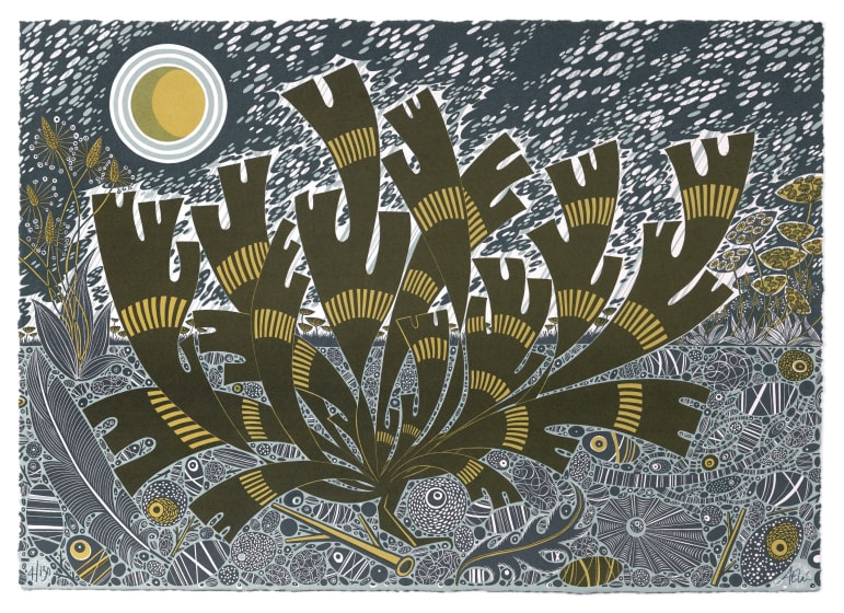 Angie Lewin RWS RE Saltmarsh Storm II screen print 80 x 62cm 28/150