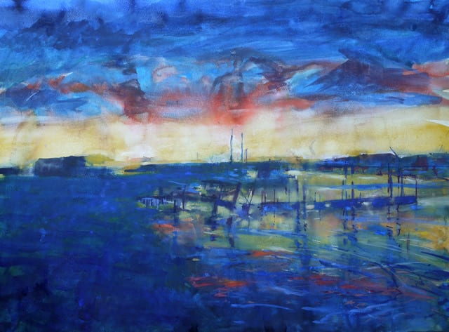 """<span class=""""artist""""><strong>Francis Bowyer Bowyer PPRWS Hon. RE</strong></span>, <span class=""""title""""><em>By the Ferry at Dusk</em></span>"""