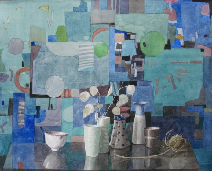 "<span class=""artist""><strong>Annie Williams RWS</strong></span>, <span class=""title""><em>Still Life in Blue</em></span>"
