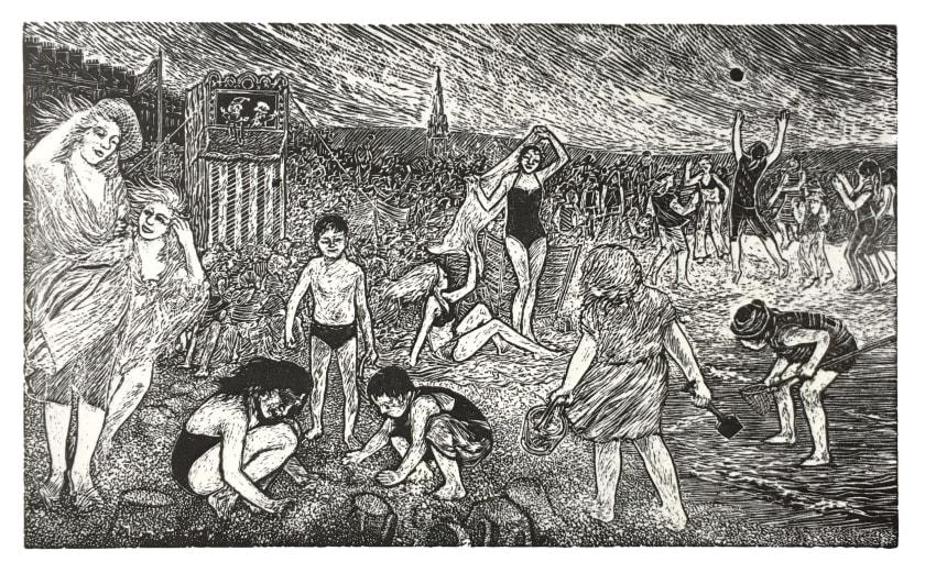 Ann Tout RE Weymouth Sands wood engraving 24 x 33cm 43/60