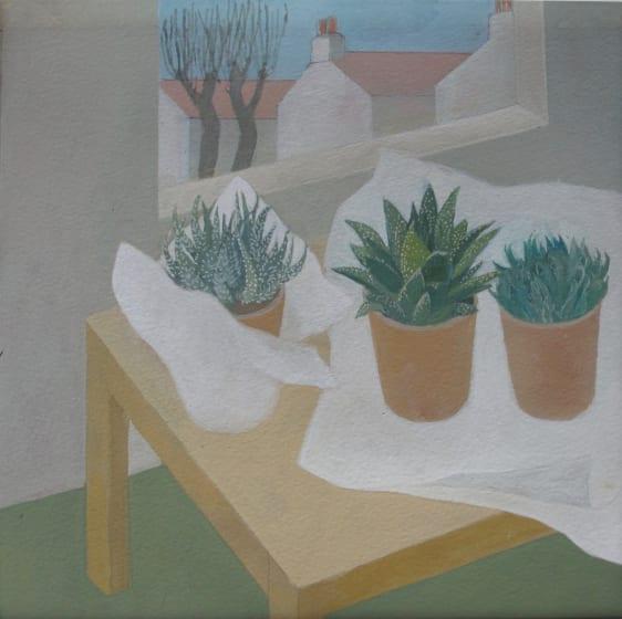 """<div class=""""artist""""><strong>Wendy Jacob RWS</strong></div><div class=""""title""""><em>Three New Plants</em></div><div class=""""medium"""">gouache</div><div class=""""dimensions"""">53 x 53</div>"""