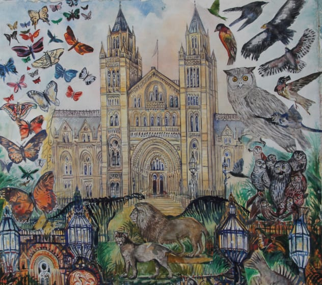 "<div class=""artist""><strong>Neil Pittaway RWS</strong></div><div class=""title""><em>Museum Adventure </em></div><div class=""medium"">watercolour collage</div><div class=""dimensions"">91 x 91</div>"