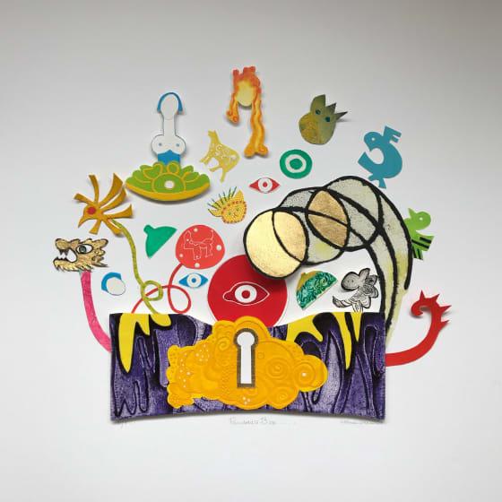 Carmen Gracia RE Pandoras Box etching & collage 64 x 64cm 1/1