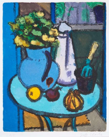 Jeff Clarke RE Greek Table printed oil colour & etching AP