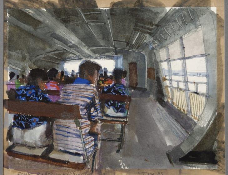 """<div class=""""artist""""><strong>John Newberry  RWS</strong></div><div class=""""title""""><em>Butterworth Ferry, Penang</em></div><div class=""""medium"""">watercolour</div><div class=""""dimensions"""">37 x 43</div>"""