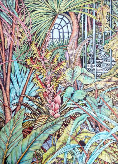 Meg Dutton RE Glasshouse. etching & watercolour 93 x 60cm 3/50