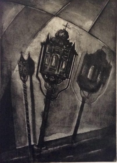 Jackie Newell RE Toles # 1 from Eglise de St Martin de Belleville etching & aquatint 22 x 70cm A.P . Edition of 20