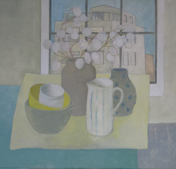 "<div class=""artist""><strong>Wendy Jacob RWS</strong></div><div class=""title""><em>Still Life on a Blue Table</em></div><div class=""medium"">gouache</div><div class=""dimensions"">53 x 53</div>"