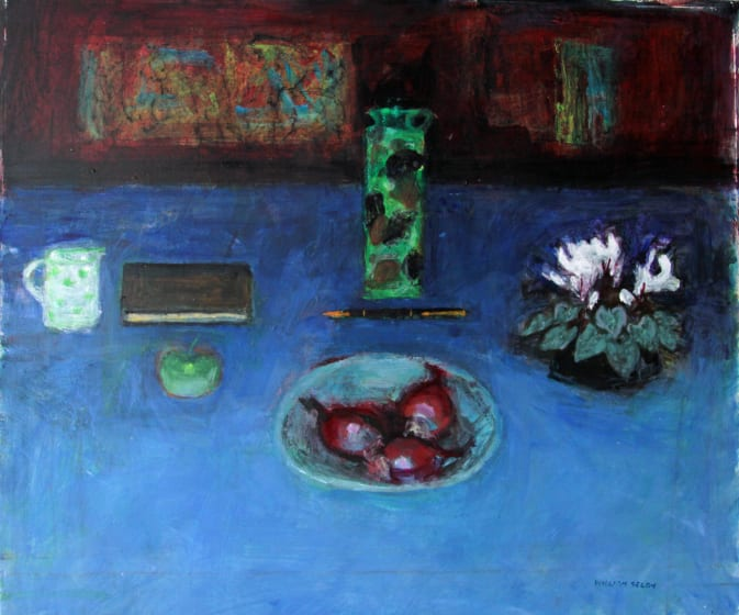 "<span class=""artist""><strong>William Selby RWS</strong></span>, <span class=""title""><em>Still Life On Blue</em></span>"