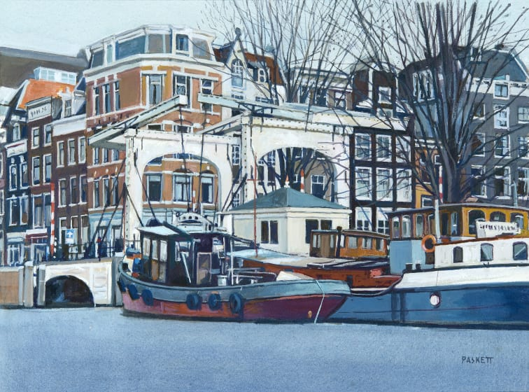 "<span class=""artist""><strong>David Paskett PPRWS Hon. RE</strong></span>, <span class=""title""><em>Swing Bridge, Amsterdam</em></span>"