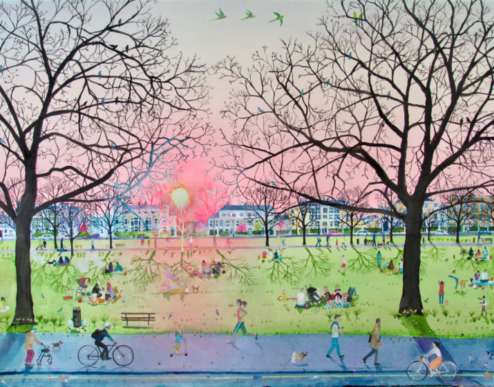 "<span class=""artist""><strong>Emma Haworth ARWS</strong></span>, <span class=""title""><em>Sunset Evening Park</em></span>"