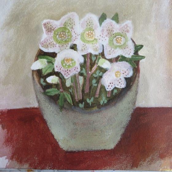 """<div class=""""artist""""><strong>Jill Leman PRWS</strong></div><div class=""""title""""><em>Lenten Roses</em></div><div class=""""medium"""">watercolour & acrylic</div><div class=""""dimensions"""">32.5 x 32.5</div>"""