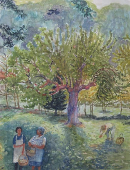 "<span class=""artist""><strong>June Berry RWS Hon. RE</strong></span>, <span class=""title""><em>Picking up the Windfalls</em></span>"