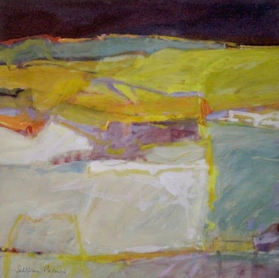 """<div class=""""artist""""><strong>Salliann Putman RWS</strong></div><div class=""""title""""><em>White Fields</em></div><div class=""""medium"""">watercolour & gouache</div><div class=""""dimensions"""">38 x 38</div>"""