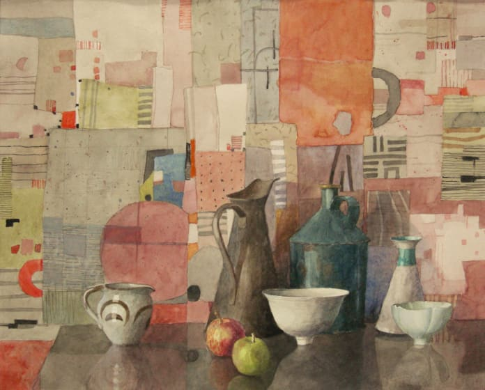 "<span class=""artist""><strong>Annie Williams RWS</strong></span>, <span class=""title""><em>Still Life with Two Apples</em></span>"