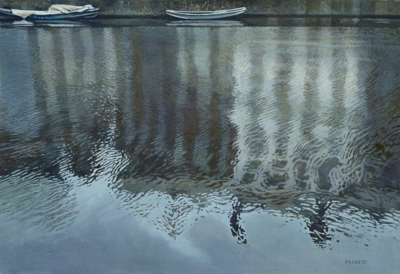 "<span class=""artist""><strong>David Paskett PPRWS Hon. RE</strong></span>, <span class=""title""><em>Shimmering Water, Amsterdam</em></span>"