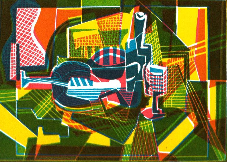 Dale Devereux Barker RE After Juan Gris linocut 35 x 40cm Unique