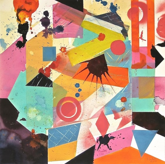 "<div class=""artist""><strong>Geoffrey Pimlott RWS</strong></div><div class=""title""><em>The Coconut Candy Club</em></div><div class=""medium"">watercolour, gouache & acrylic</div><div class=""dimensions"">66 x 66</div>"