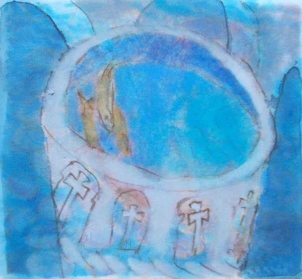 "<div class=""artist""><strong>Anne Marlow RWS</strong></div><div class=""title""><em>The Font</em></div><div class=""medium"">watercolour & pastel</div><div class=""dimensions"">46 x 45</div>"