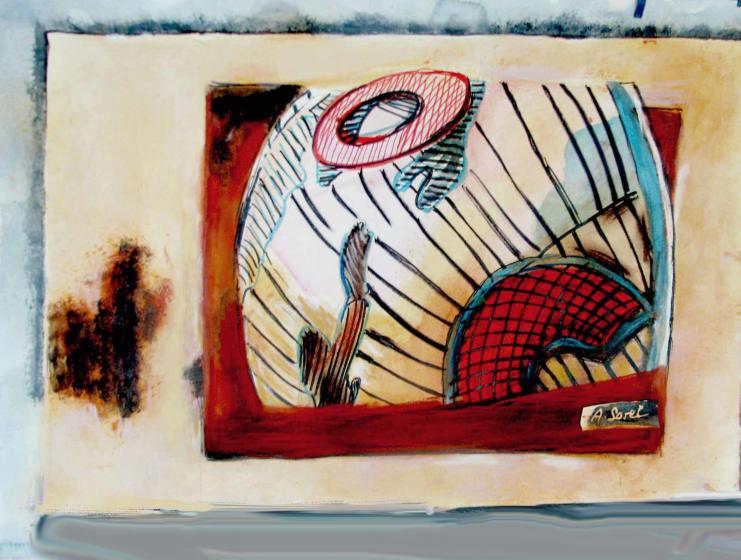 "<span class=""artist""><strong>Agathe Sorel RWS RE</strong></span>, <span class=""title""><em>Curved Sky Lanzarote</em></span>"